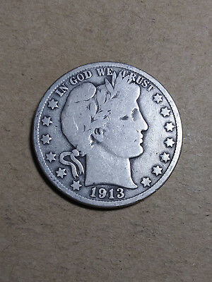 1913 D 50C Barber Half  Circulated  90 % Silver US Coin BH103 FREE FAST SHIPPING