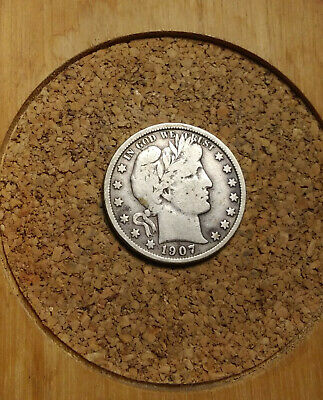 1907 P 50C Barber Half  Circulated  90 % Silver US Coin F+ BH268 FREE SHIPPING