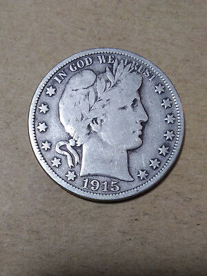 1915 D 50C Barber Half  Circulated  90 % Silver US Coin #BH114 F-