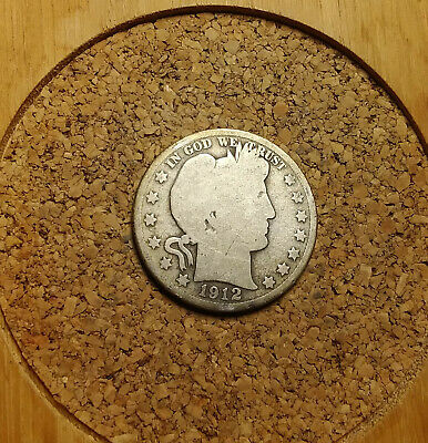 1912 P 50C Barber Half  Circulated  90 % Silver US Coin  BH253 RARE DATE