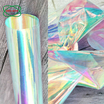 Iridescent Holographic Clear Transparent PVC Fabric Vinyl Material Bow Craft A4