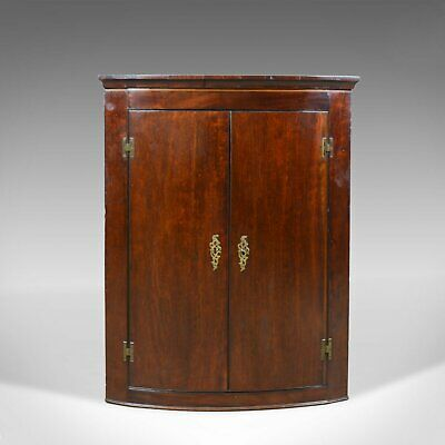 Antique Corner Cabinet, Late Georgian, Bow Fronted, Mahogany, Hanging, c.1800