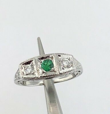 Lady's 14k white gold Victorian style genuine Emerald & Diamond ring