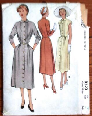 1950 VIintage McCall Printed Pattern 8323 Woman's Button-Down Dress Bust 28.5