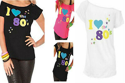 900a9be54 Ladies Womens I Love the 80s Fancy Dress Hen Party Retro T-Shirt Top New