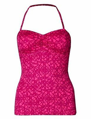 991824e739 Ex M&S Hot Pink Mix Tankini Top Tile Print Strapless Halterneck Padded  Support