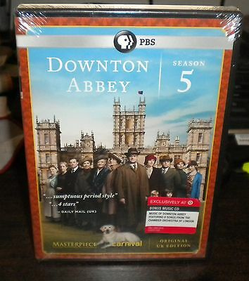New Sealed PBS Downtown Abbey Season Five 5 (DVD, 2015, 3-Disc Set +Bonus CD)v