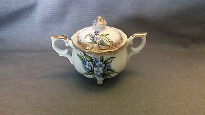 """ Forget-Me-Not "" Fine Bone China England Footed Covered Sugar Bowl Porcelain"