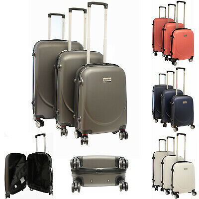 Hard Shell Suitcase Set Hand Travel Cabin Luggage Sets 4 Wheel Trolley Case 3Pcs