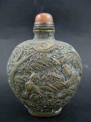 Collectible China Old Brass Hand Carved Last water Tree Person Snuff Bottle