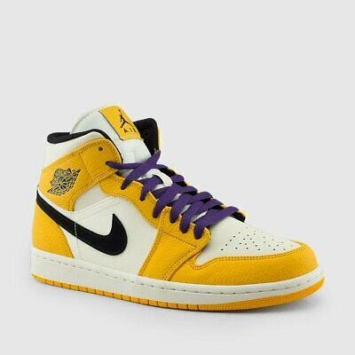 4870e0e8bcb5 Nike Air Jordan Retro I 1 MID SE Lakers University Gold Purple 852542-700  Men GS