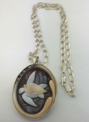 Vintage sterling silver genuine carved shell Sea Turtle cameo pendant necklace