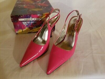 Wild Pair Womens Red and White Leather Heels Size 6 1/2B