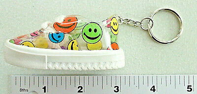 Vintage CLEAR Plastic Multi-Color SMILE FACES Rubber Sole SNEAKER Metal KEYCHAIN