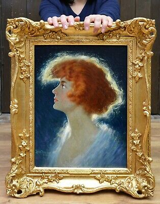 Fine Late 19th / Early 20thC Belle Epoque Oil Painting Portrait American Beauty
