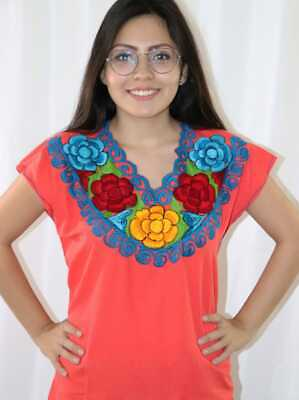 Handmade Women Embroidered Mexican Blouse Medium Orange Blusa Artesanal Mexicana
