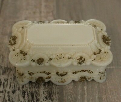 Lovely Antique Victorian Milk Glass Dresser Covered Lidded Dish Floral Gold WOW