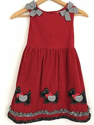 f06cc5ee48e4 Rare Editions Dress Jumper Red Black Polka Dots Black Scottie Dogs Corduroy  sz 6