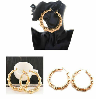 ab306da26 Fashion Punk Old School Gold Tone Hiphop Bamboo Big Hoop Large Circle  Earrings