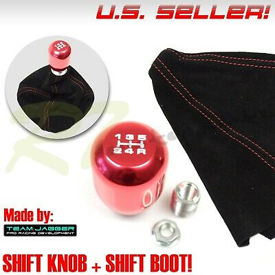FIT TOYOTA M12 5-SPEED METAL BRUSHED GEAR STICK SHIFT KNOB LEVER+RED STITCH BOOT