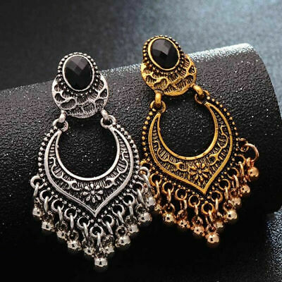 Antique Earrings Bead Indian Jewelry Vintage Silver Drop Gold Plated Charm Woman