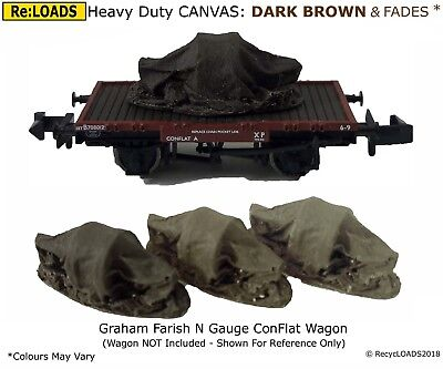 DARK BROWN 'Canvas' Tarped Covered Sheeted Model Road & Railway Load, N, Z Scale
