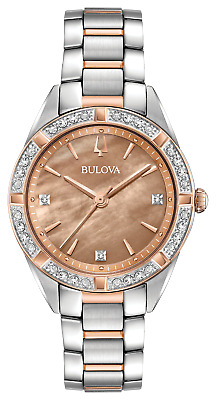 Bulova 98R264 Women's Sutton Diamond Accent Two-Tone Rose Gold MOP 32mm Watch