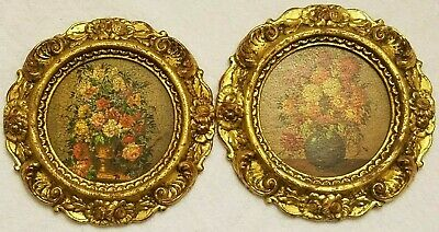 Vintage Florentia Decorative Wood Gold Gilt Wall Plaques Hand Made in Italy