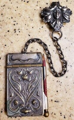 Chatalaine ART NOUVEAU Silver Plated Notepad On Clip