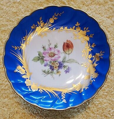 Limoges Small Footed Cake Plate Blue And Gold With Floral Print