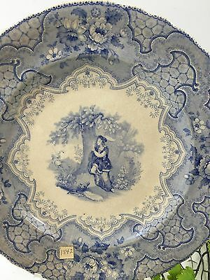 1842 Flow Blue Dinner Plate PIC-NIC FROM Banquet Given for Daniel Webster ~RARE