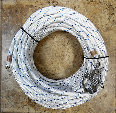 """3/8"""" x 90 ft. Dacron/Polyester Halyard, Spliced in Stainless Snap Shackle W/Blu"""