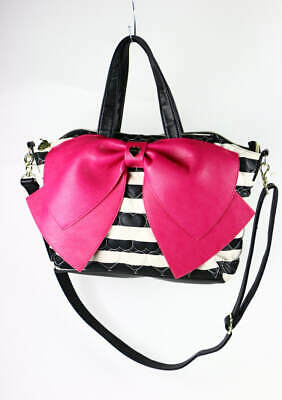 Betsey Johnson Black & White Striped Heart Quilted Faux Leather Satchel