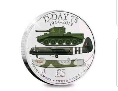2019 D-DAY 75th ANNIVERSARY WW2, 1944 - 2019,  Five Pound £5 Coloured Coin