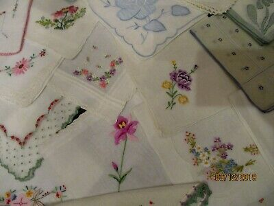 20 Vintage Pink, Blue, yellow Pastel Embroidered hankies,lace ,many unused