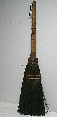 Vtg Primitive hearth Handmade woven & wire Straw Sweep whisk Broom wood turned