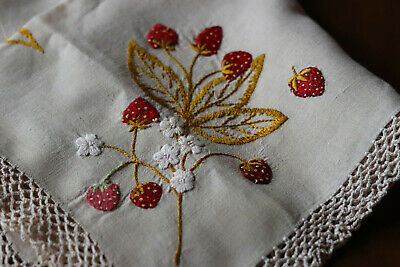 """Antique Hand Embroidered Table Topper Doily Linen Strawberry  21"""""""