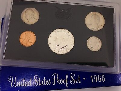 1968 Proof Set 40% Silver Kennedy - 5 coins Original Mint Package #A104