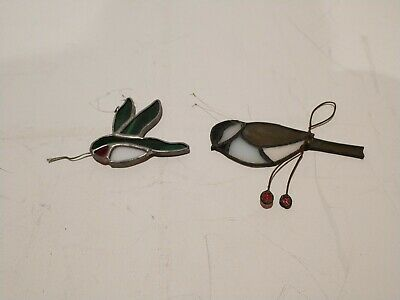 Lot of 2 HUMMINGBIRD & SPARROW STAINED GLASS SUNCATCHERS - Vintage