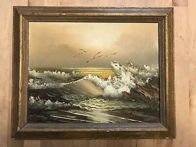 H. Gailey Signed Oil On Canvas Painting Beach Nature