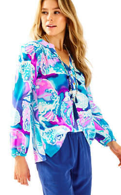 35c7a0bb22129e Lilly Pulitzer Elsa Silk Blouse, Swell Acquainted, Purple Opal, Size  XSmall, NWT
