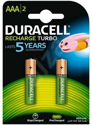 2 Pack Duracell Rechargeable Batteries AAA 850 Mah HR03 DX2400 NiMH Phone Cordle