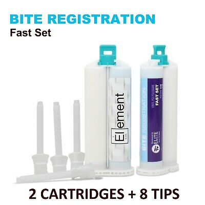 ELEMENT VPS Bite Registration FAST SET 2 X 50ML Cartridges + 8 TIPS Dental PVS