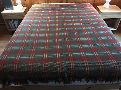 Antique Wool Cotton Hand Loomed Woven Center Seam Coverlet Blanket Rust Green