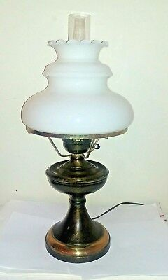 498b006e9d20 Vintage 3 Way Electric Oil Style Table Parlor Lamp W  Large Milk Glass Shade