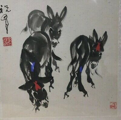 """Signed Chinese Ink Wash Painting""""Three Donkeys""""-  Artist Signed And Seal #1"""