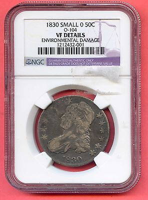 1830 50C O-104 Capped Bust Silver Half Dollar. NGC Graded VF Details. Lot #295
