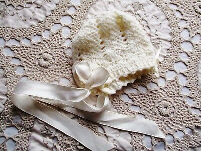 Vintage Hand Knitted Pure Wool Baby / Doll Bonnet – Ivory Cream Colour
