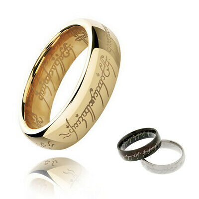 4mm Lord of the Stainless Steel Gold Band Ring Men Women Wedding Engagement Chic