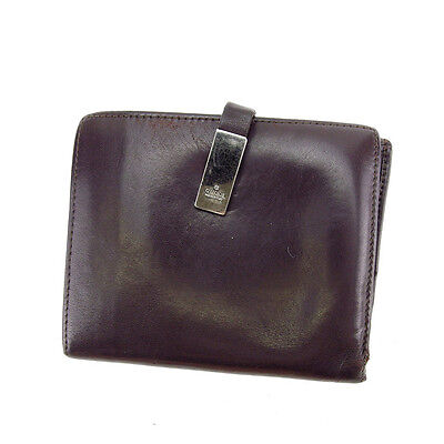 e297a1645fd Gucci Wallet Purse Folding wallet Brown Silver Mens Authentic Used G1012